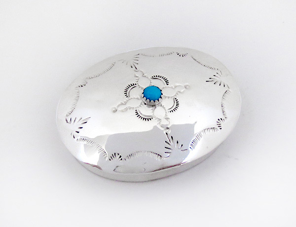 Image 0 of      Handcrafted Sterling Silver Pill Box Navajo Made - 4608rio