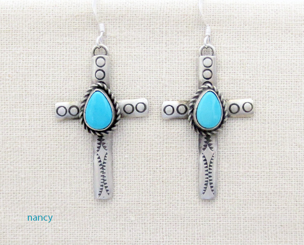 Image 0 of     Turquoise & Sterling Silver Cross Earrings Native American - 4273sw