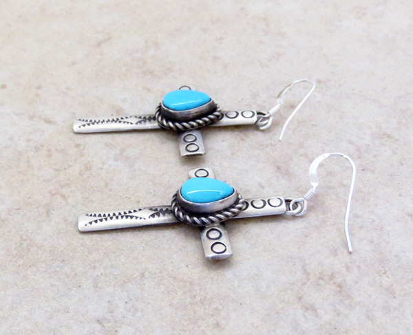 Image 1 of     Turquoise & Sterling Silver Cross Earrings Native American - 4273sw