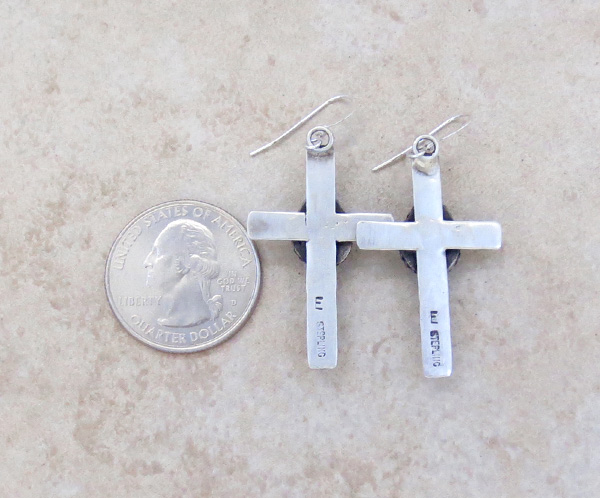 Image 2 of     Turquoise & Sterling Silver Cross Earrings Native American - 4273sw