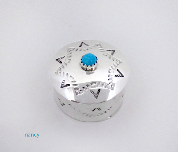 Handcrafted Stamped Sterling Silver Pill Box with Turquoise - 4512rio