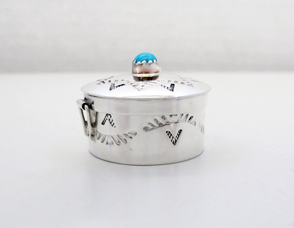 Image 2 of    Handcrafted Stamped Sterling Silver Pill Box with Turquoise - 4512rio
