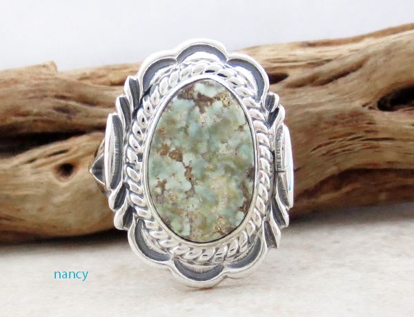 Dry Creek Turquoise & Sterling Silver Ring Size 8 Native American - 4812rio
