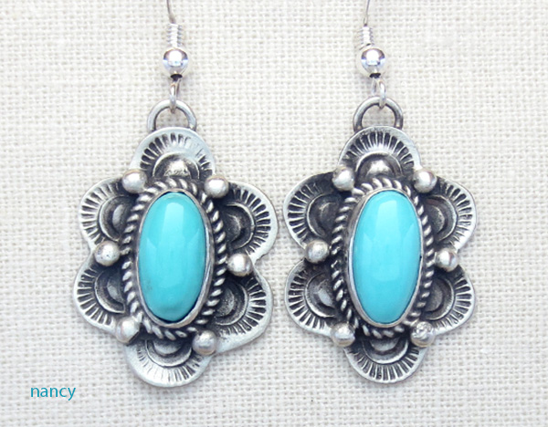 Turquoise & Sterling Silver Earrings Native American Made - 4397sw