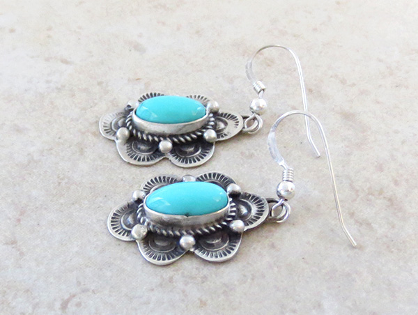 Image 1 of       Turquoise & Sterling Silver Earrings Native American Made - 4397sw