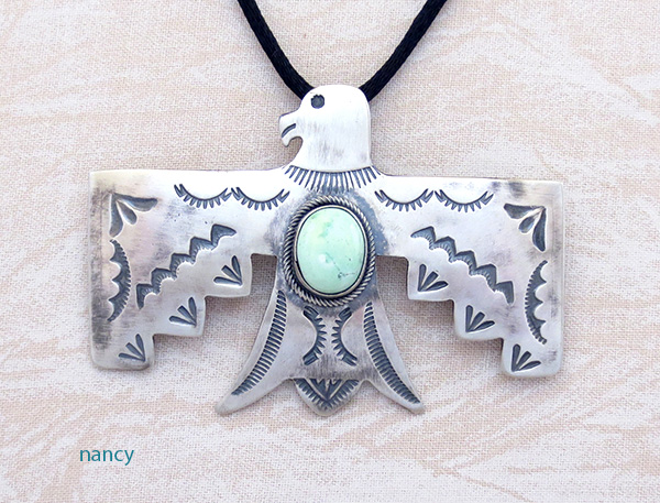 Image 0 of    Carico Lake Turquoise & Sterling Silver Thunderbird Pendant Navajo - 4815sw
