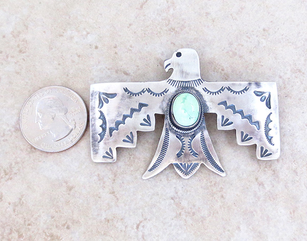 Image 1 of    Carico Lake Turquoise & Sterling Silver Thunderbird Pendant Navajo - 4815sw