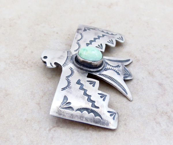 Image 2 of    Carico Lake Turquoise & Sterling Silver Thunderbird Pendant Navajo - 4815sw