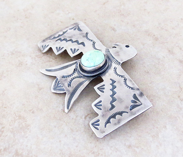 Image 3 of    Carico Lake Turquoise & Sterling Silver Thunderbird Pendant Navajo - 4815sw