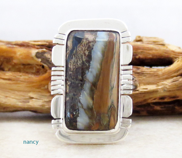 Mammoth Tooth Stone & Sterling Silver Ring Size 8 Native American - 4813sn