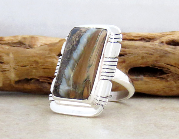 Image 2 of       Mammoth Tooth Stone & Sterling Silver Ring Size 8 Native American - 4813sn