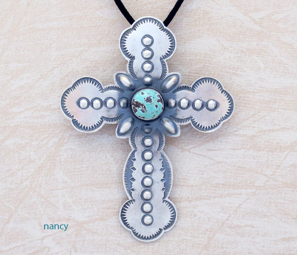 Image 0 of    BIG Turquoise & Sterling Silver Cross Pendant / Pin Native American - 4816rio