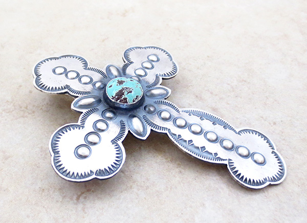 Image 2 of    BIG Turquoise & Sterling Silver Cross Pendant / Pin Native American - 4816rio