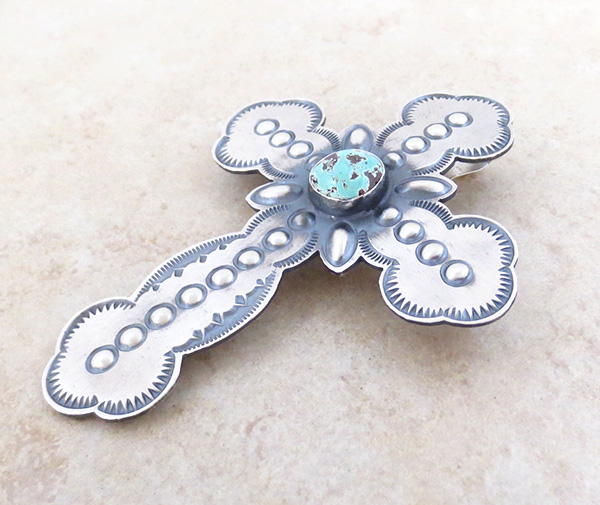 Image 3 of    BIG Turquoise & Sterling Silver Cross Pendant / Pin Native American - 4816rio
