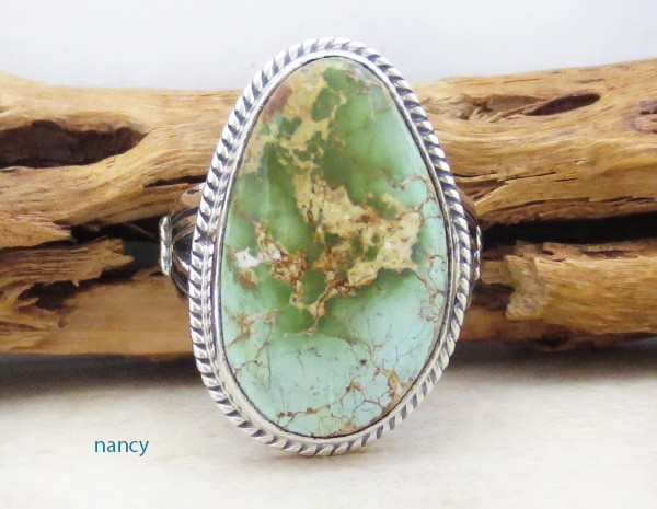 Turquoise & Sterling Silver Ring Size 9 Native American Made - 4703sn