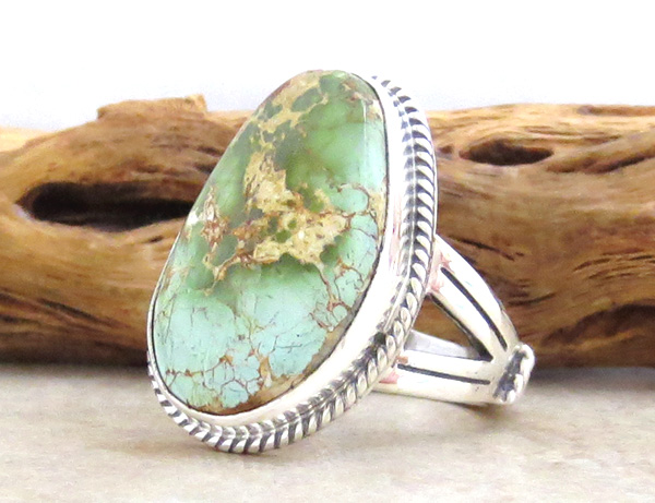 Image 2 of    Royston Turquoise & Sterling Silver Ring Size 9 Native American Made - 4703sn