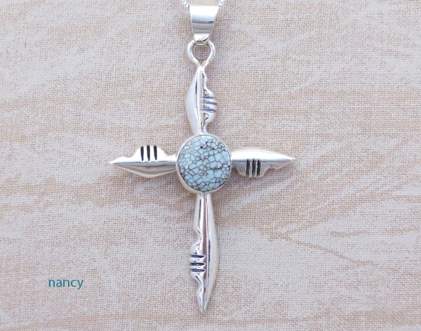 Image 0 of Dry Creek Turquoise & Sterling Silver Cross Pendant Native American - 4702rio
