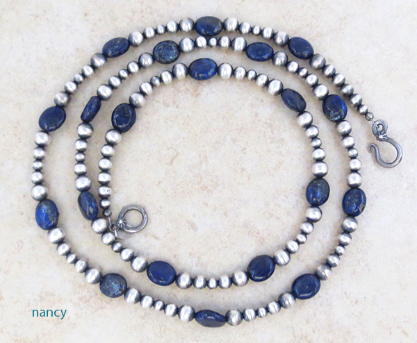 Lapis & Desert Pearl Sterling Silver Necklace 30 Long Navajo - 4609tag