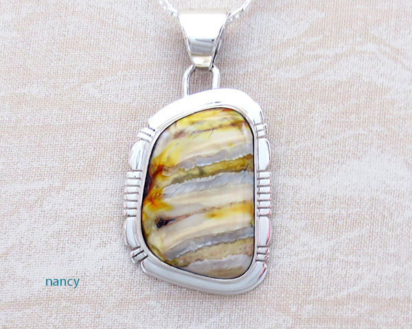 Image 0 of Native American Mammoth Tooth Stone & Sterling Silver Pendant - 4817sn