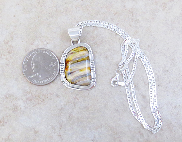 Image 1 of Native American Mammoth Tooth Stone & Sterling Silver Pendant - 4817sn