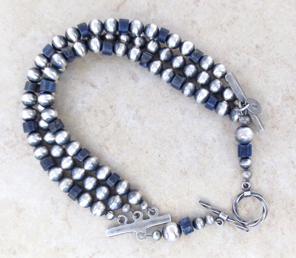 Image 2 of   Lapis & Sterling Silver Desert Pearls Toggle Bracelet Navajo - 4705tag