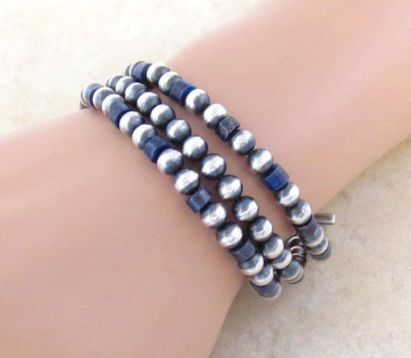 Lapis & Sterling Silver Desert Pearls Toggle Bracelet Navajo - 4705tag