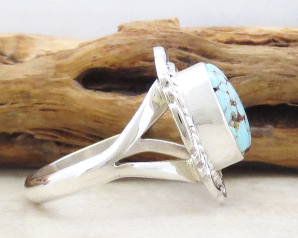 Image 1 of      Dry Creek Turquoise & Sterling Silver Ring Size 9 Navajo - 3996rio