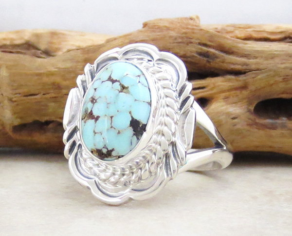 Image 2 of      Dry Creek Turquoise & Sterling Silver Ring Size 9 Navajo - 3996rio