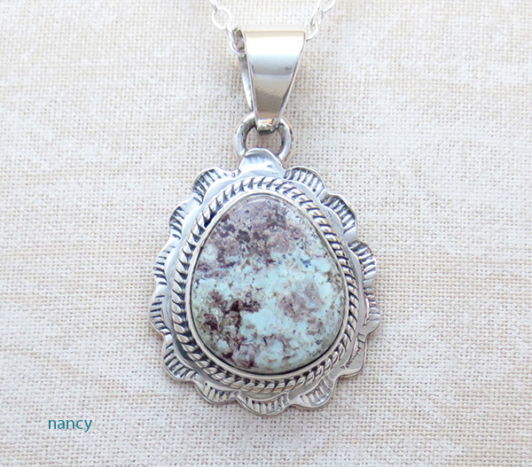 Small Dry Creek Turquoise & Sterling Silver Pendant Native American  - 4709sn