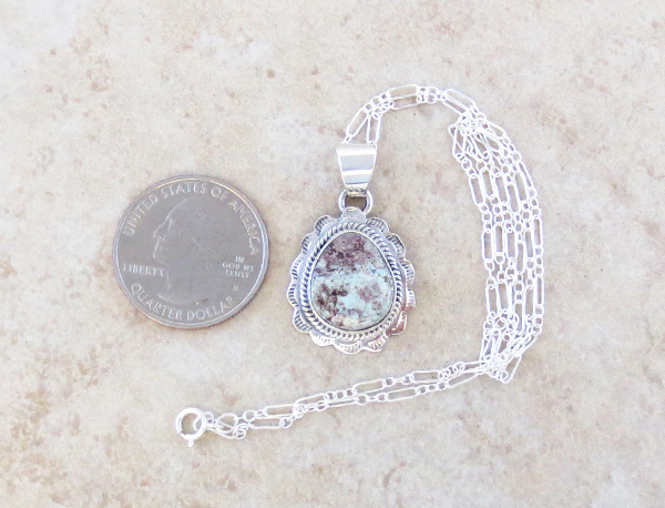 Image 1 of Small Dry Creek Turquoise & Sterling Silver Pendant Native American  - 4709sn