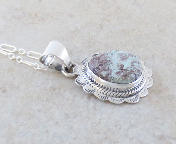 Image 2 of Small Dry Creek Turquoise & Sterling Silver Pendant Native American  - 4709sn