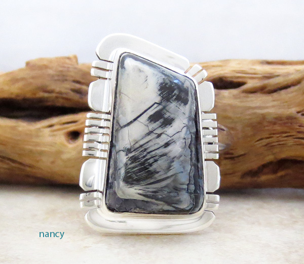Mammoth Tooth Stone & Sterling Silver Ring Size 7.5 Native American - 4706sn