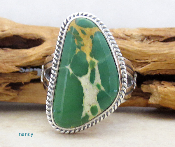 Image 0 of Turquoise & Sterling Silver Ring Size 9 Native American Made - 4608sn