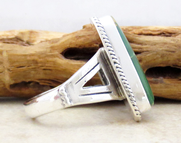 Image 1 of Turquoise & Sterling Silver Ring Size 9 Native American Made - 4608sn