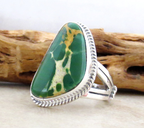 Image 2 of Turquoise & Sterling Silver Ring Size 9 Native American Made - 4608sn