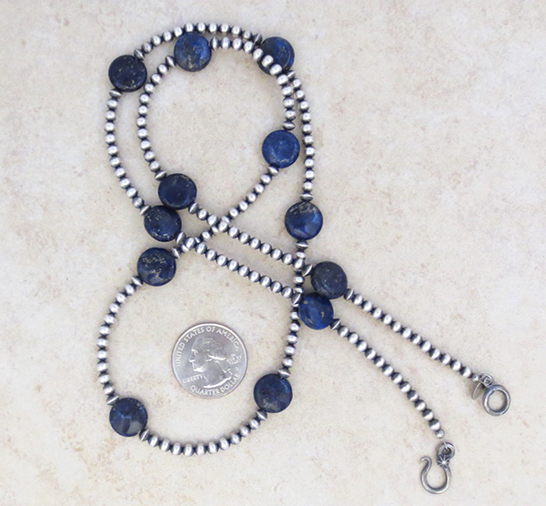 Image 1 of Lapis & Desert Pearl Sterling Silver Necklace 30