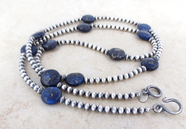 Image 2 of Lapis & Desert Pearl Sterling Silver Necklace 30