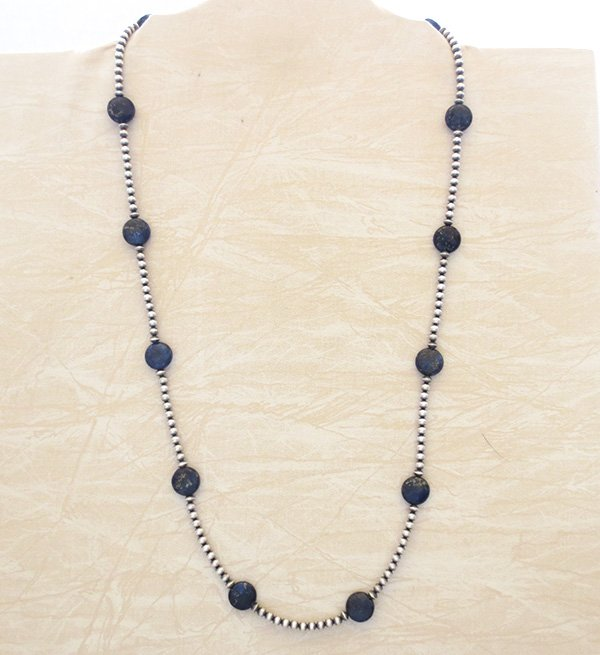 Image 3 of Lapis & Desert Pearl Sterling Silver Necklace 30