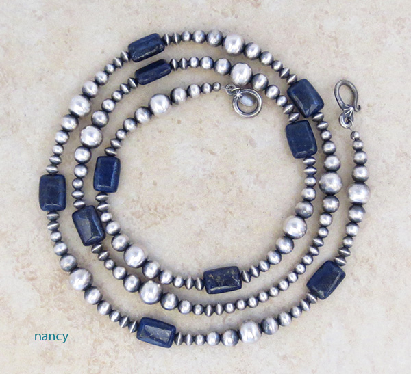 Lapis & Desert Pearl Sterling Silver Necklace 30 Long Navajo - 3997tag