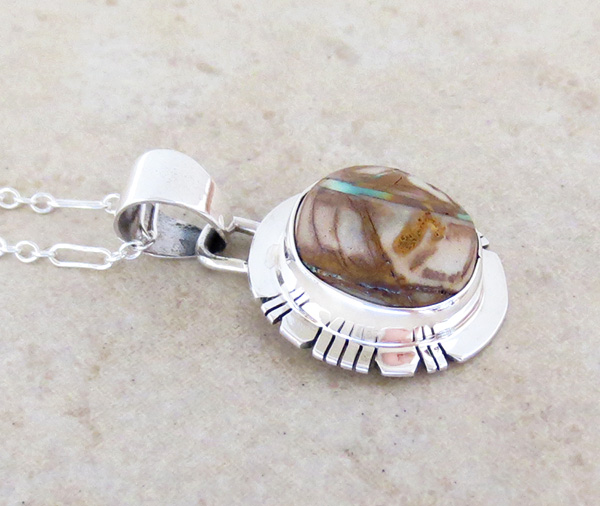 Image 2 of        Boulder Turquoise & Sterling Silver Pendant Native American Made - 4820sn