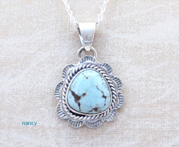 Small Dry Creek Turquoise & Sterling Silver Pendant Native American - 4517sn