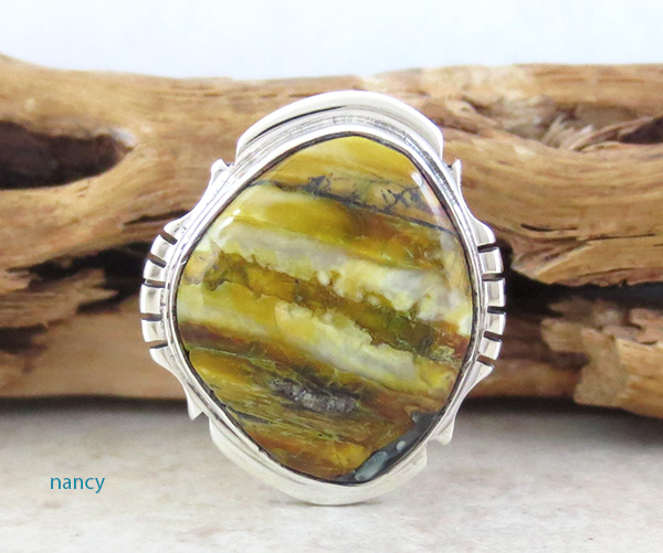 Mammoth Tooth Stone & Sterling Silver Ring Size 8 Navajo - 4518sn