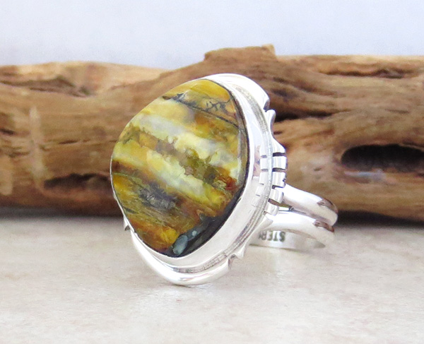 Image 2 of       Mammoth Tooth Stone & Sterling Silver Ring Size 8 Navajo - 4518sn