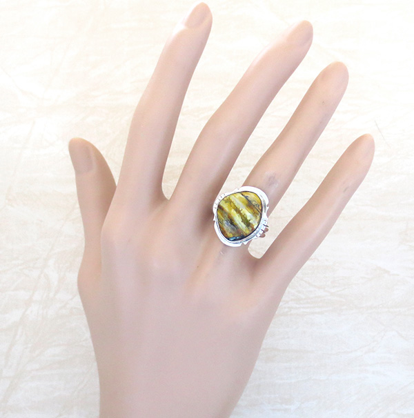 Image 4 of       Mammoth Tooth Stone & Sterling Silver Ring Size 8 Navajo - 4518sn