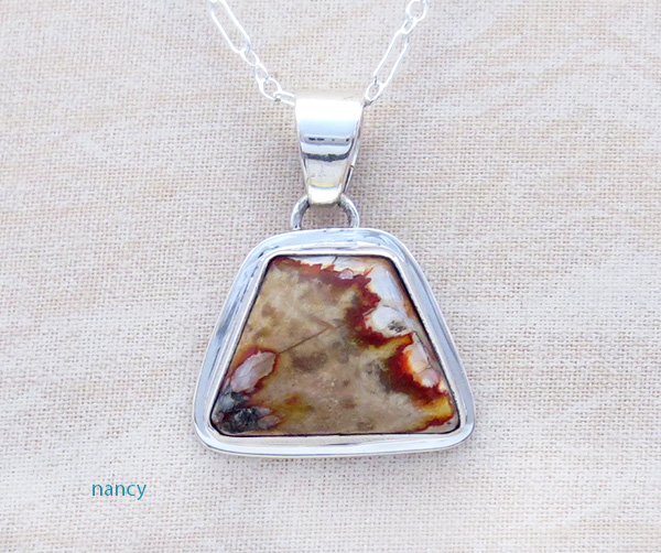 Native American Mammoth Tooth Stone & Sterling Silver Pendant - 4612sn