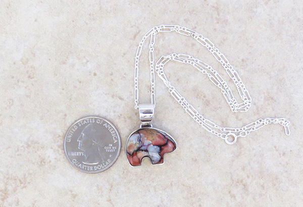 Image 1 of Small Mammoth Tooth Stone & Sterling Silver Bear Pendant Jewelry- 3695sn