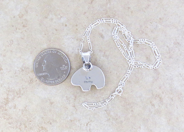 Image 3 of Small Mammoth Tooth Stone & Sterling Silver Bear Pendant Jewelry- 3695sn