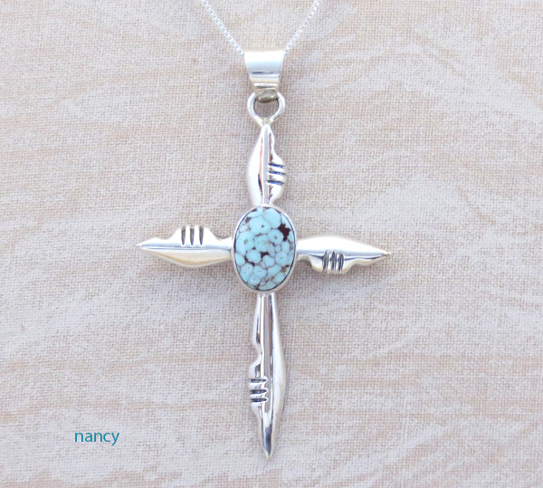 Dry Creek Turquoise & Sterling Silver Cross Pendant Native American - 3698rio
