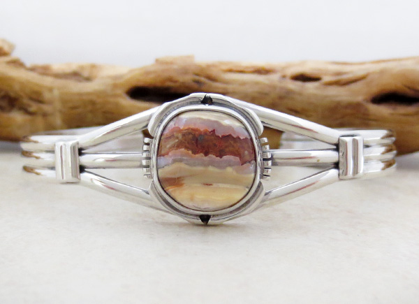Native American Ancient Mammoth Tooth Stone & Sterling Silver Bracelet - 4274sn