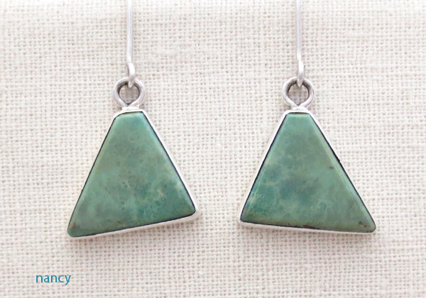 Green Turquoise & Sterling Silver Earrings Native American Made - 4520rio